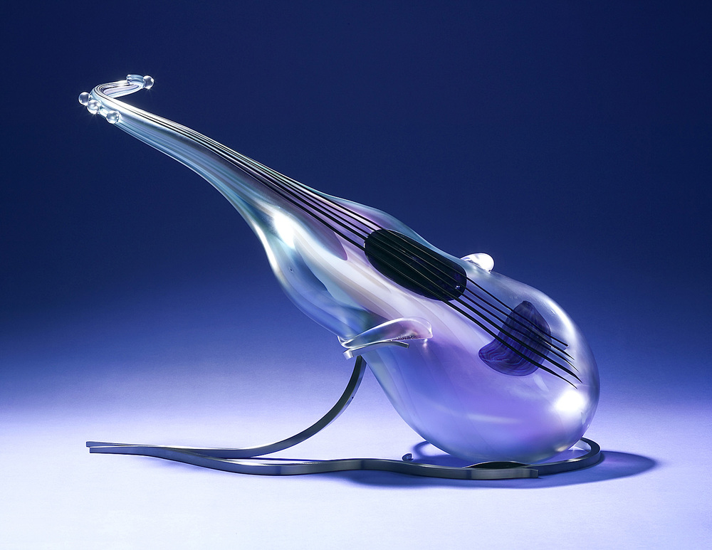 Satin Tone   2003. Blown glass, glass details, nickel-plated bronze. 42 x 40 x 18""