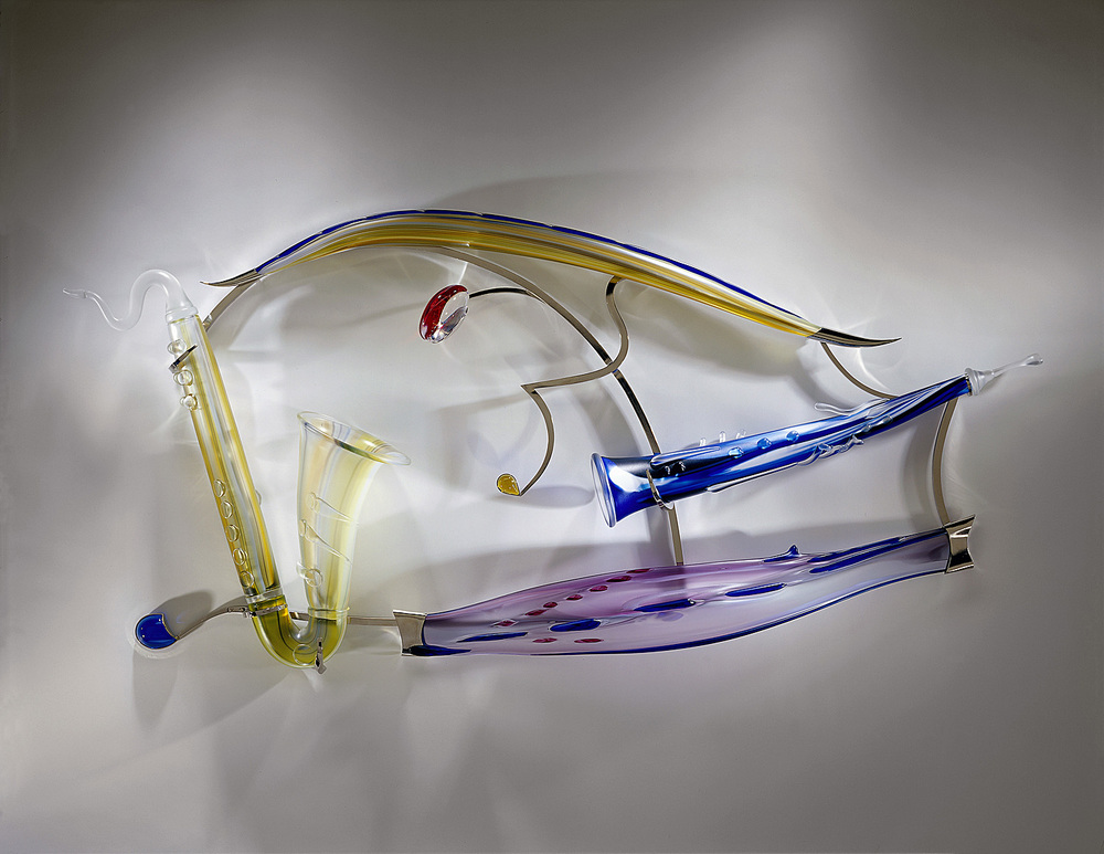 Blue Horizon   2002. Blown glass, glass details, nickel-plated bronze. 30 x 61 x 8""