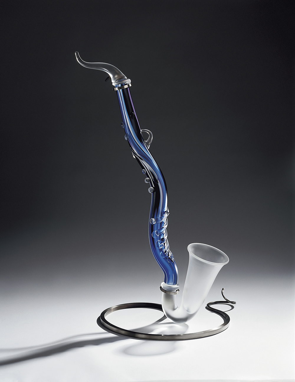 Featherfall   2001. Blown glass, glass details, nickel-plated bronze. 33 x 20""