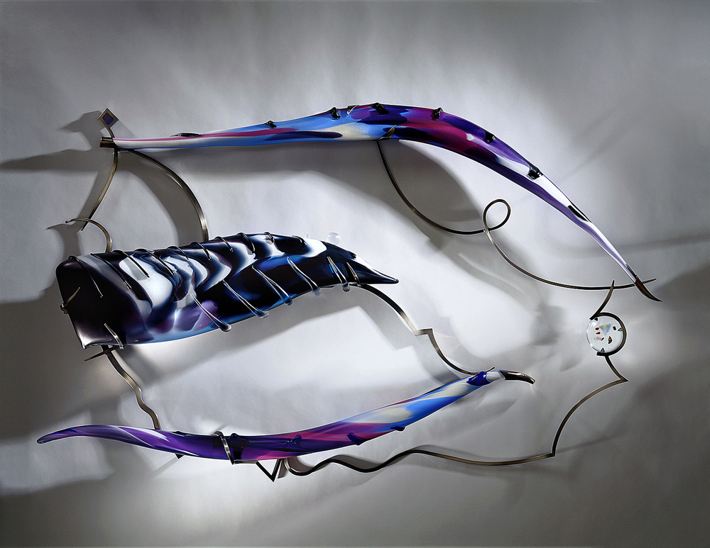 Misterioso   2001. Blown glass, glass details, nickel-plated bronze. 35 x 52 x 5½""