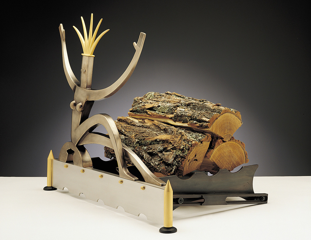 Fireplace Figure   1999. Cast bronze, stainless steel, gold-plated bronze. 25 x 31 x 20""