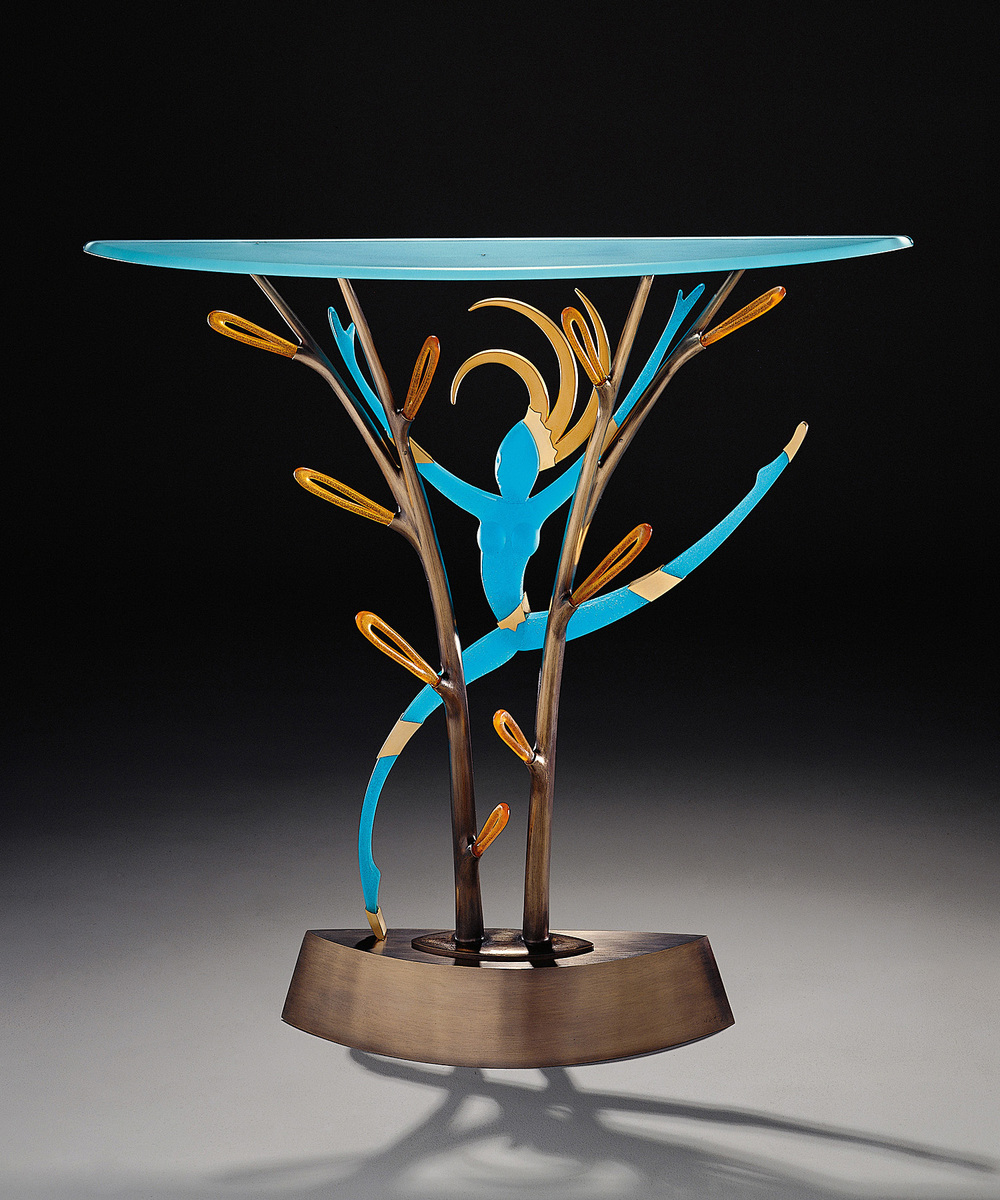 Jungle Dancer   1997. Plate glass, pate de verre, bronze, gold-plated bronze. 36 x 38 x 12""