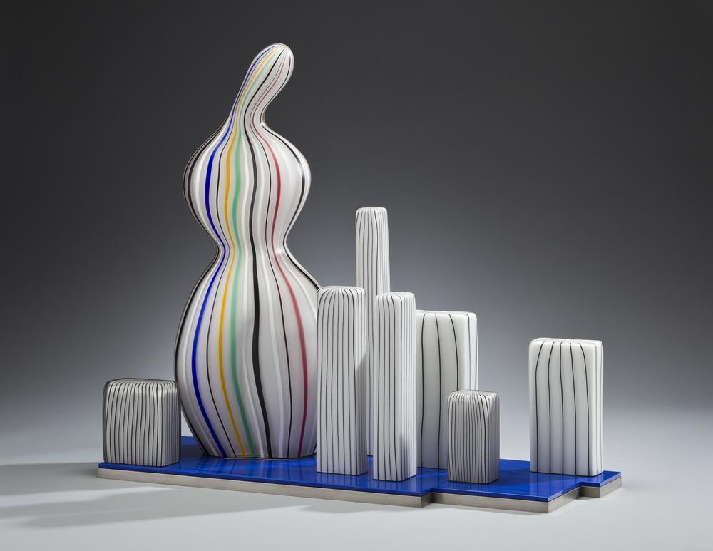 """Monument 2011.Blown glass, Vitrolite, aluminum, glass details.22½ x26 x 10"""""""