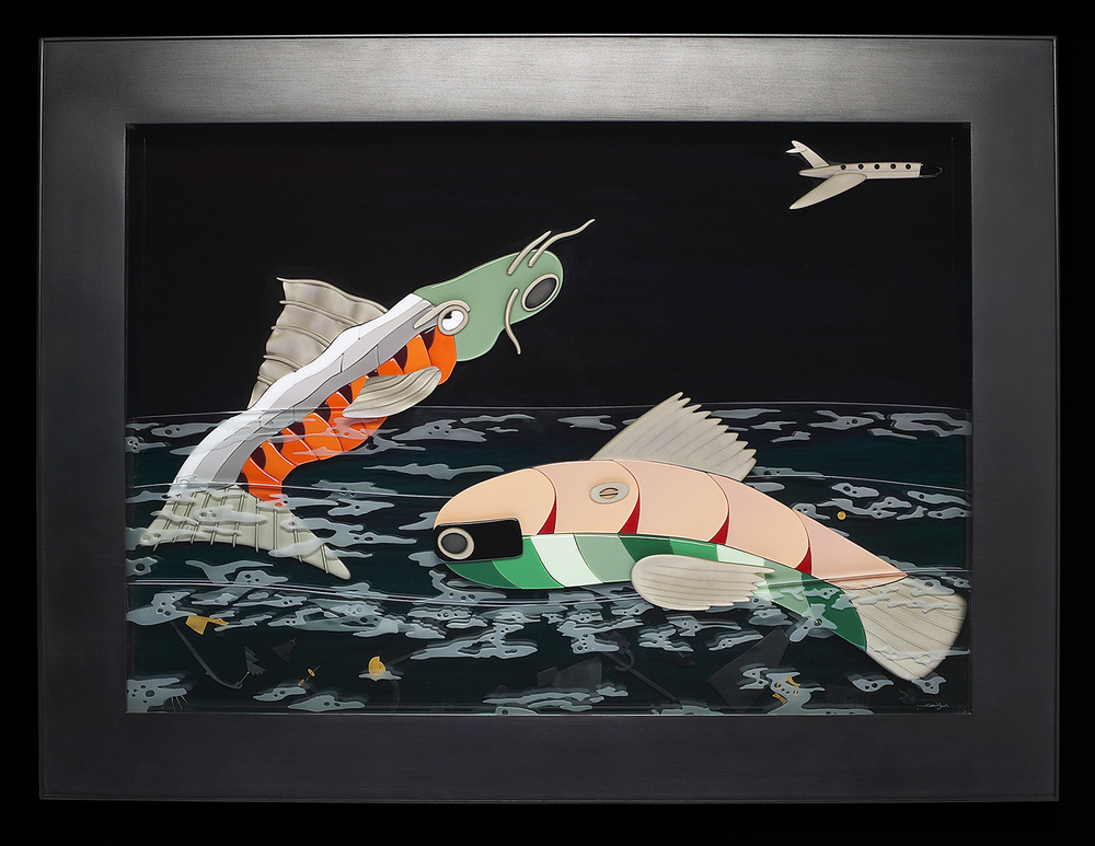 "Night Fish   1987. Vitrolite, plate glass, bronze, aluminum. 26 x 32"""