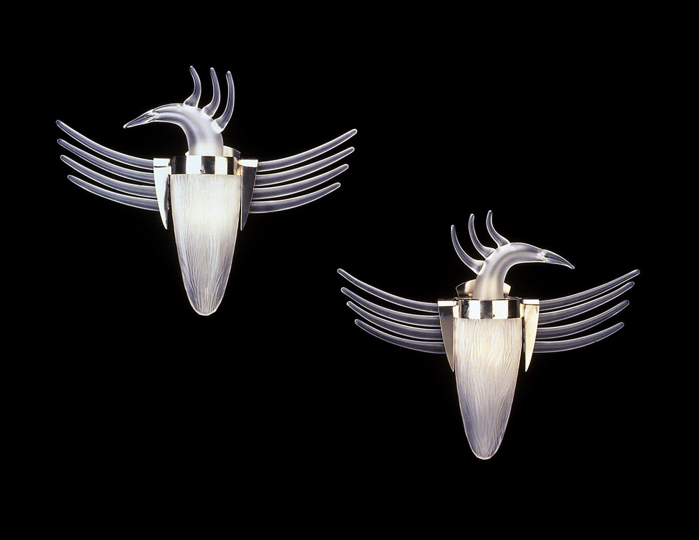 "Bird Sconces   1999. Crystal, glass details. 21 x 26 x 7"" each. W aterford Crystal   Waterford, Ireland"