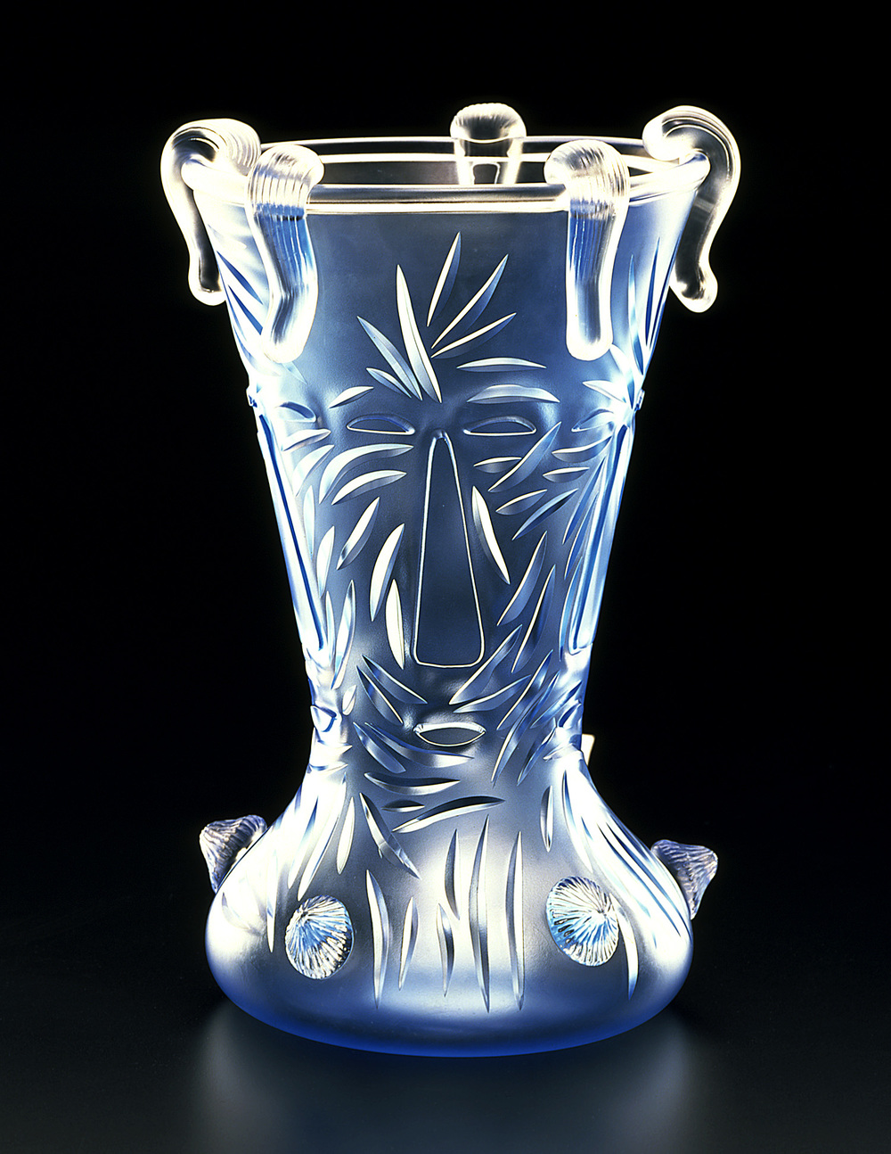 "Mostly Satisfied   1999. Crystal, glass details. 17½ x 12¼ x 12¼""   Waterford Crystal   Waterford, Ireland"