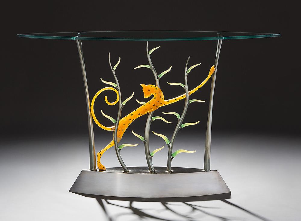 """Ratteau's Cheetah 2013. Cast bronze, pate de verre, plate glass.36 x 64 x 21"""""""