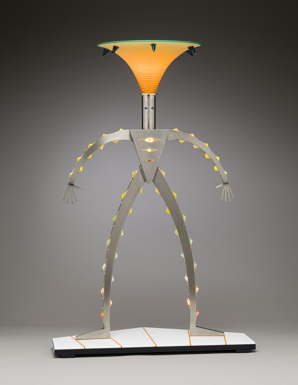 Suit of Light   2011. Blown glass, nickel-plated and anodized aluminum, gold plated brass, 50 LED lights, pate de verre and Vitrolite glass. 48 x 36 x 17""