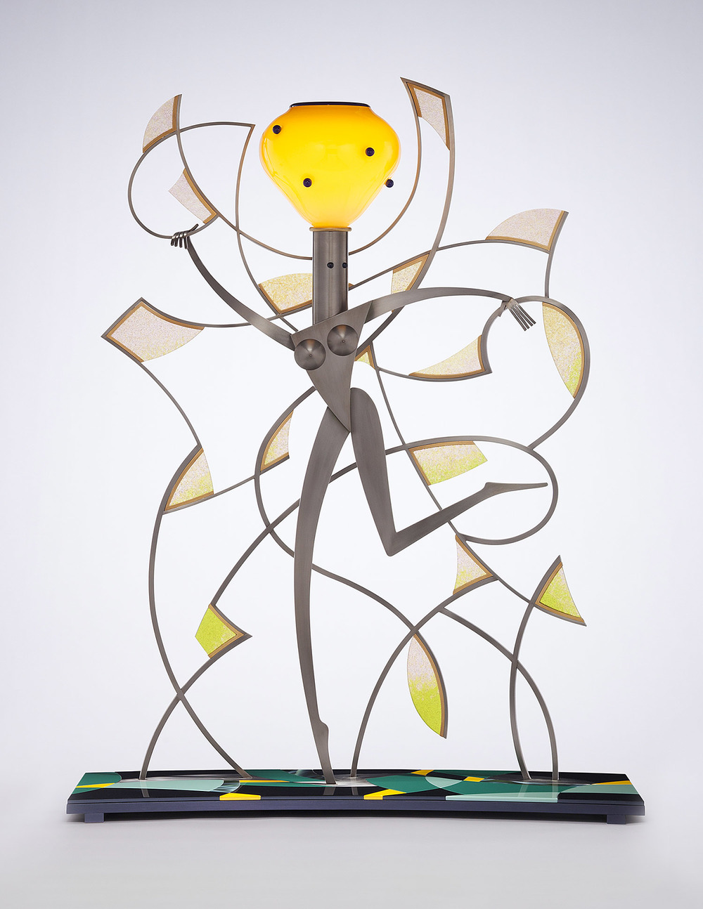 More   2008. Blown glass, nickel and gold-plated bronze, aluminum, pate de verre, Vitrolite and lampworked glass. 41 x 31 x 15""