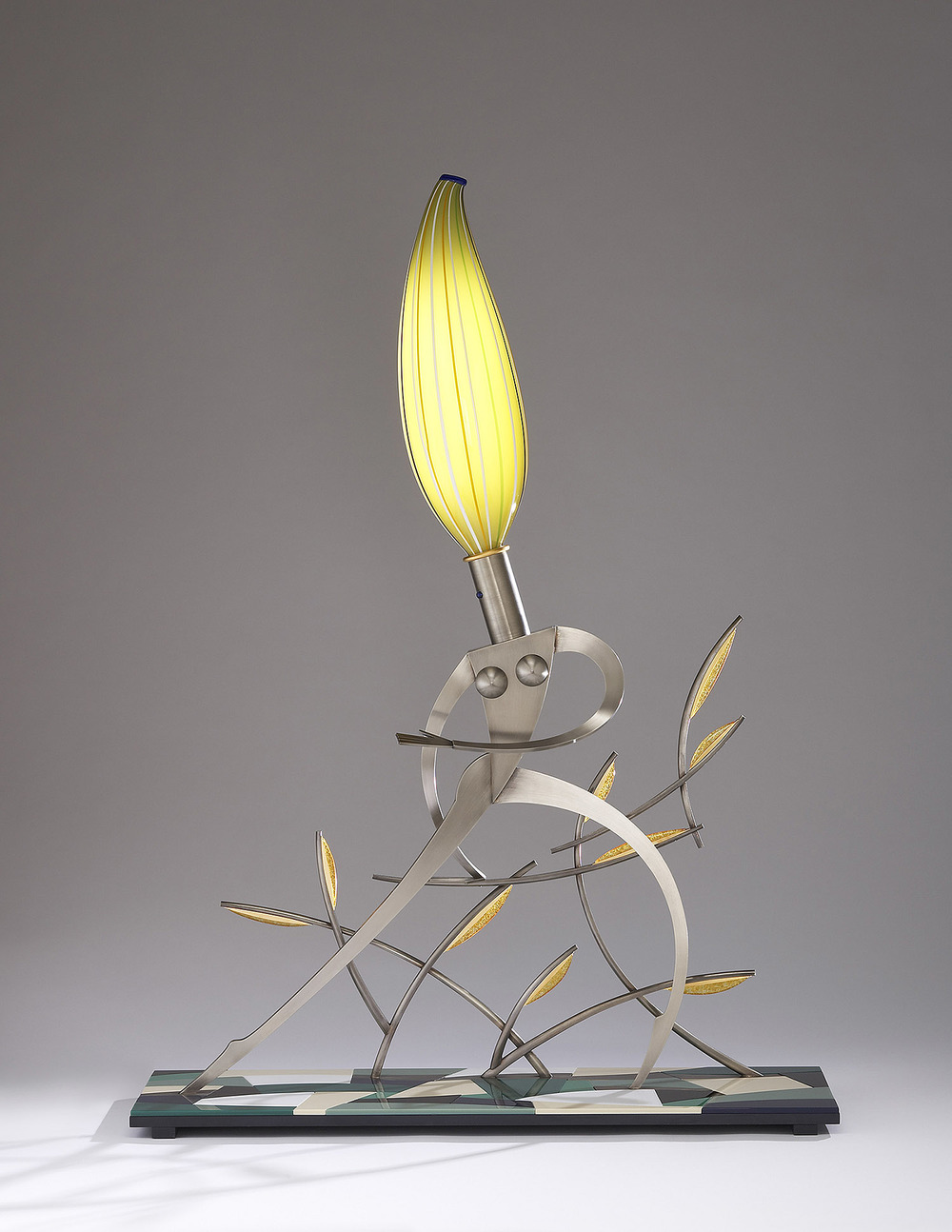 Nude Looking Back   2007. Blown glass, nickel and gold-plated bronze, aluminum, Vitrolite and lampworked glass. 44 x 32 x 11""