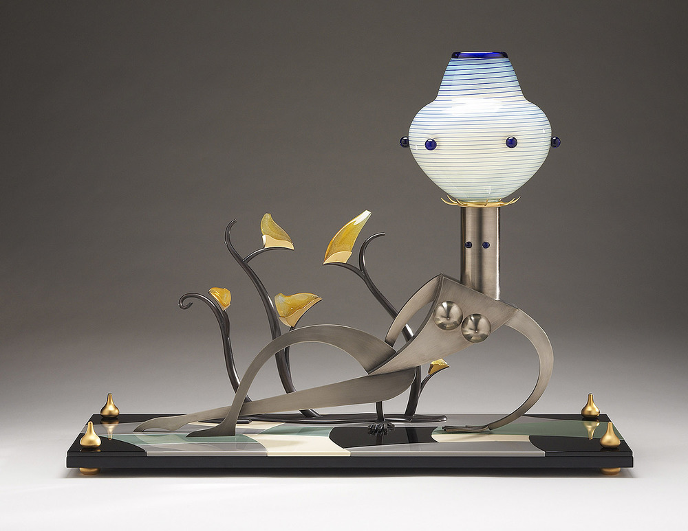 Nude with a Blooming Plant   2007. Blown glass, nickel and gold-plated bronze, aluminum, Vitrolite and lampworked glass. 20½ x 27 x 10""