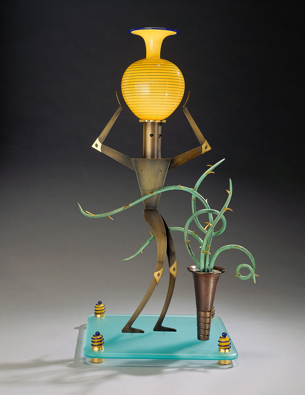 Nude Male with Cactus    1995. Blown glass, bronze, gold-plated bronze, and lampworked glass. 20½ x 26 x 9""