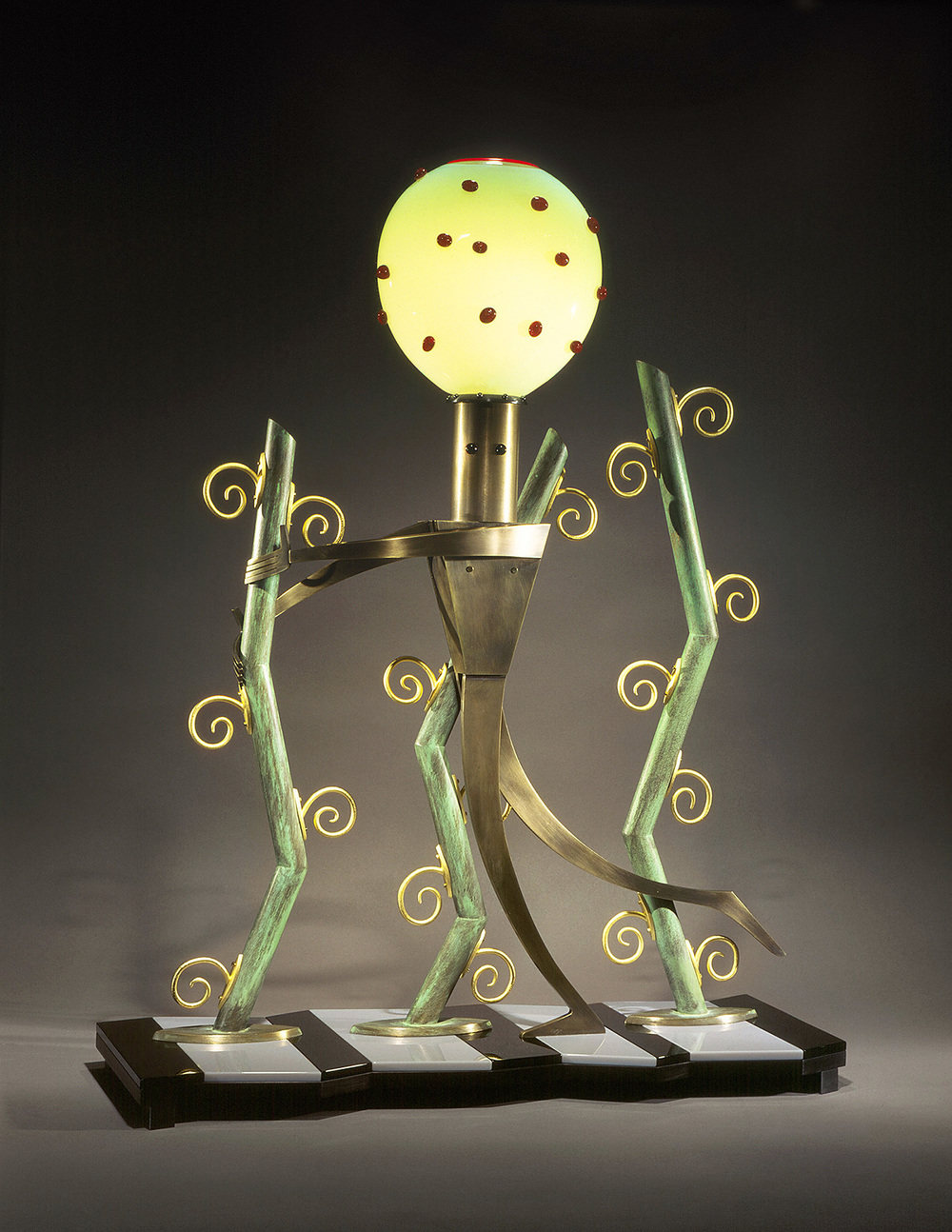 Jazz Jungle   1995. Blown glass, bronze, gold-plated bronze, Vitrolite and lampworked glass. 32 x 24 x 9""