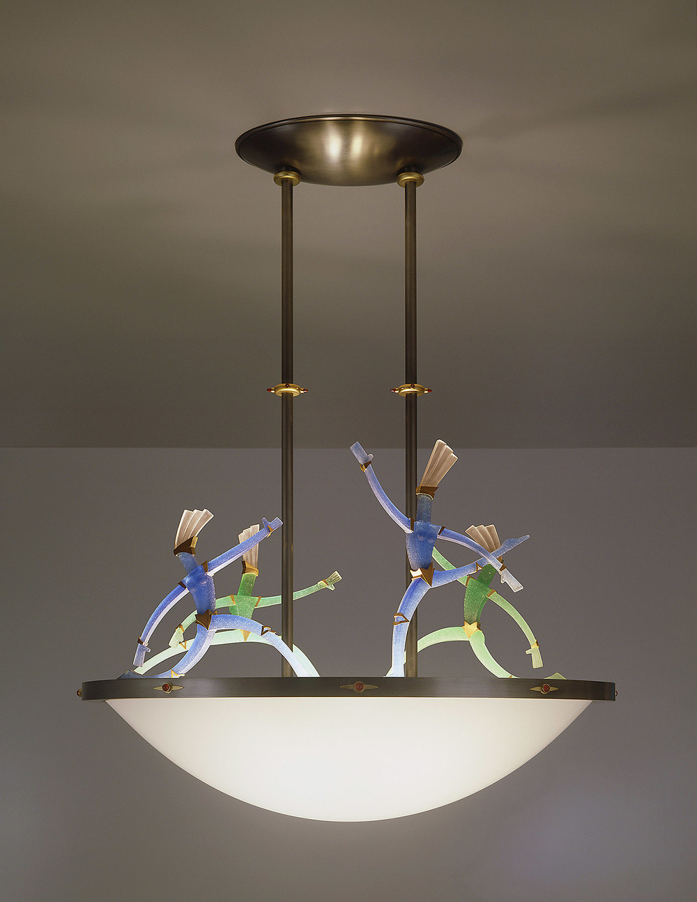 Figurative Chandelier   1999. Bronze, gold-plated bronze. Slumped glass, pate de verre and lampworked glass. 39 x 30 x 18""