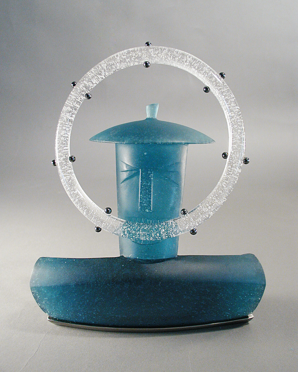 UrbanGlass Award   2001. Pate de verre, nickel-plated bronze, engraved nameplate.