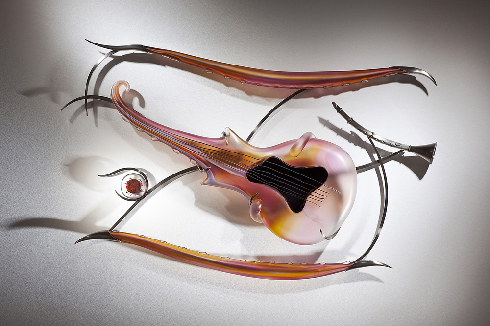 Sunsetting   2009. Blown glass, glass details, nickel-plated bronze. 37½ x 54 x 7""