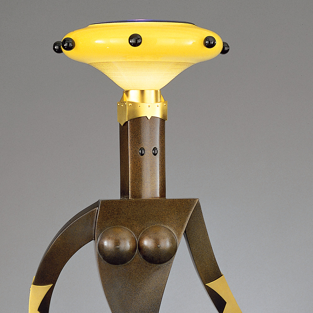 Female Figure Floor Lamp   (2/8) 1999. Blown glass, cast bronze, gold-plated bronze, aluminum, Vitrolite and lampworked glass. 72 x 44 x 28""