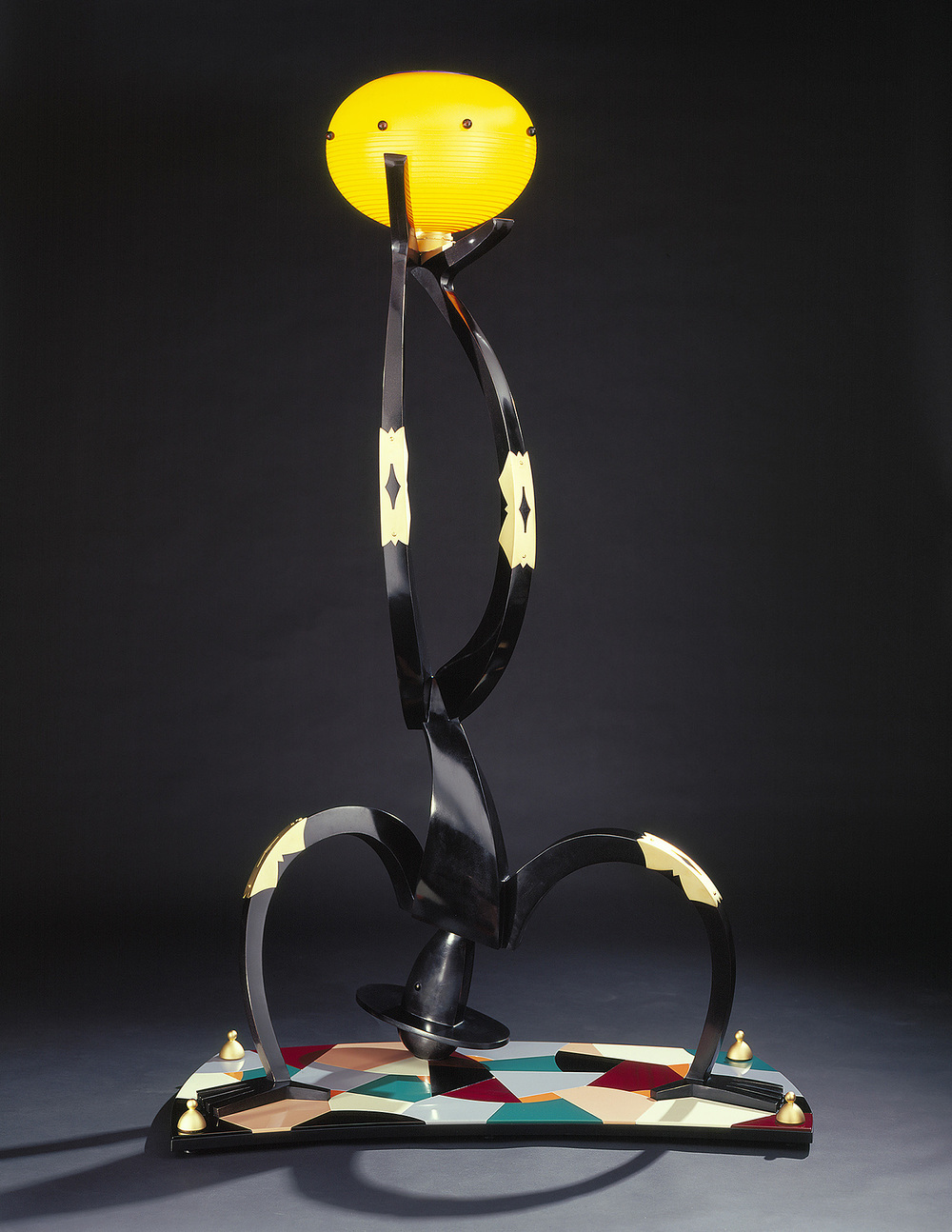Upside Down Man   (1/6) 2001. Blown glass, cast and patinated bronze, gold-plated brass, aluminum, Vitrolite and lampworked glass. 78 x 54 x 24""