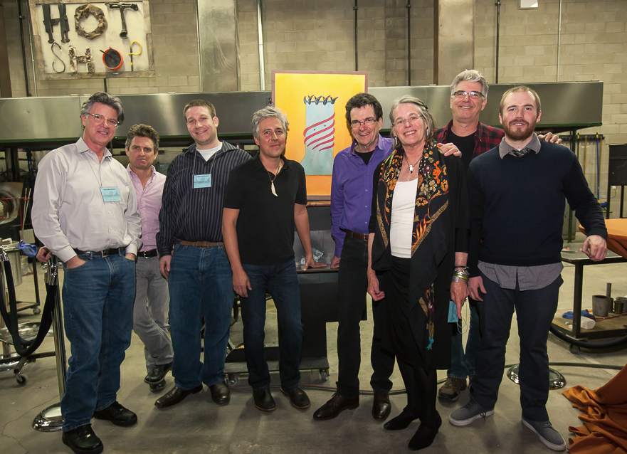 Benjamin Moore, Dante Marioni, Aaron Baigelman, Preston Singletary, Dan Dailey, Margy Trumbull, Rich Royal and Brent Rogers attend the Glass Art Society 43rd Annual Conference at Ignite Glass Studios in Chicago, IL.