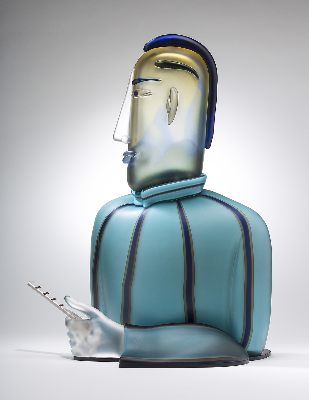 Expert   2013. Blown glass, aluminum. 23 x 15½ x 11""