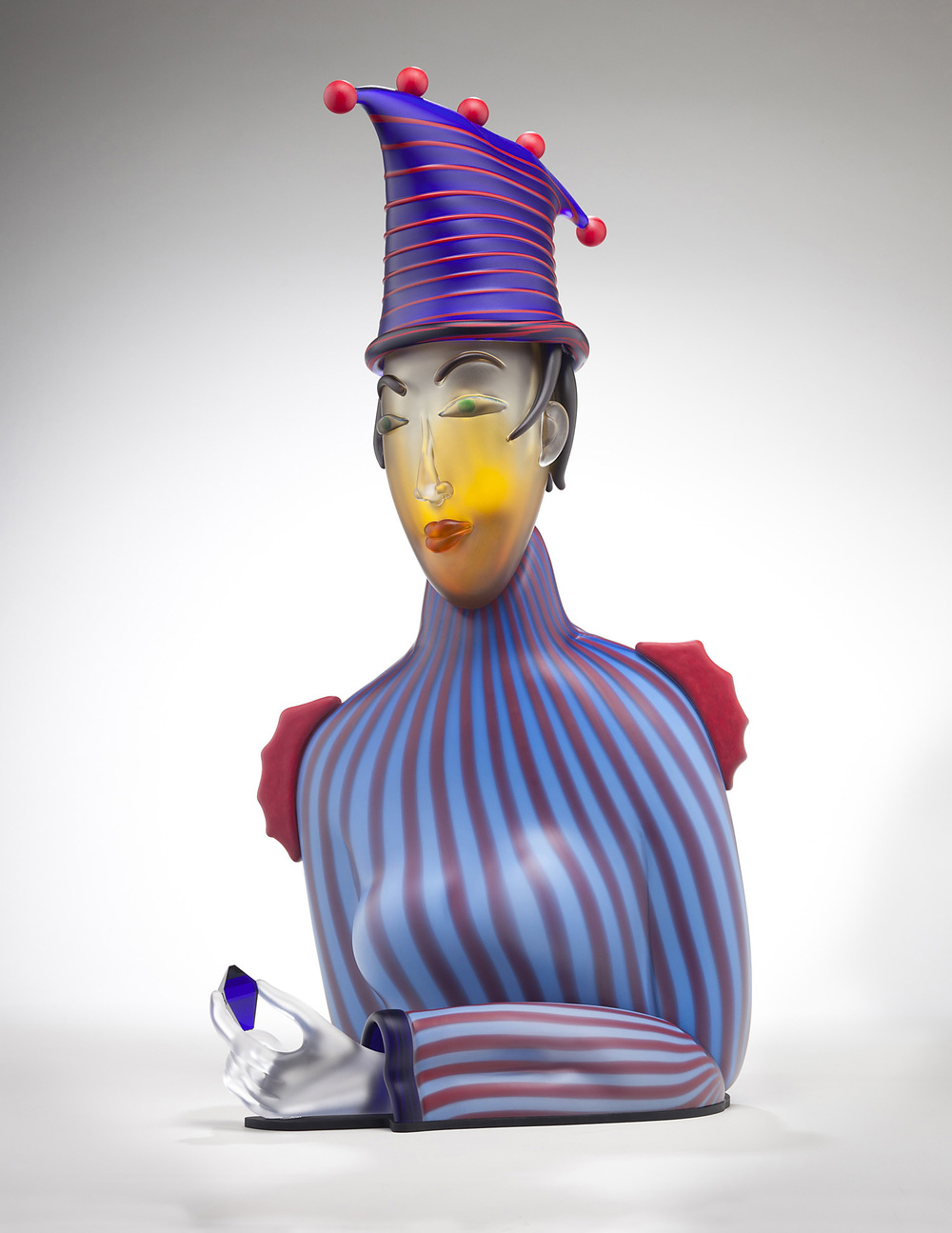 Her   2010. Blown glass, aluminum. 31 x 15½ x 20""