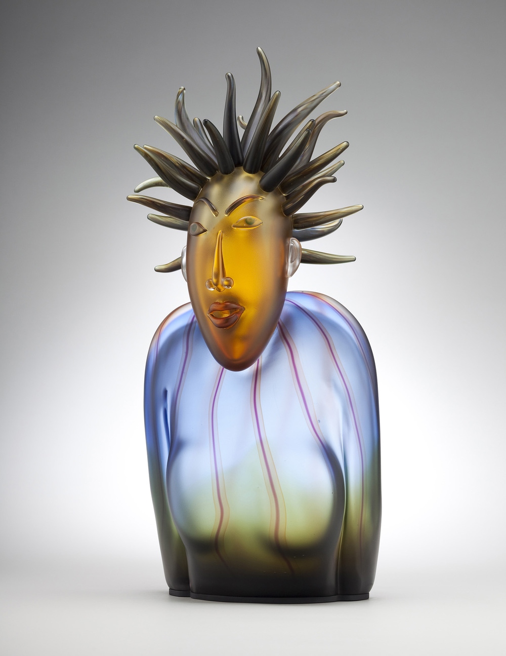 Shook   2008. Blown glass, aluminum. 26  x 12 x 8""