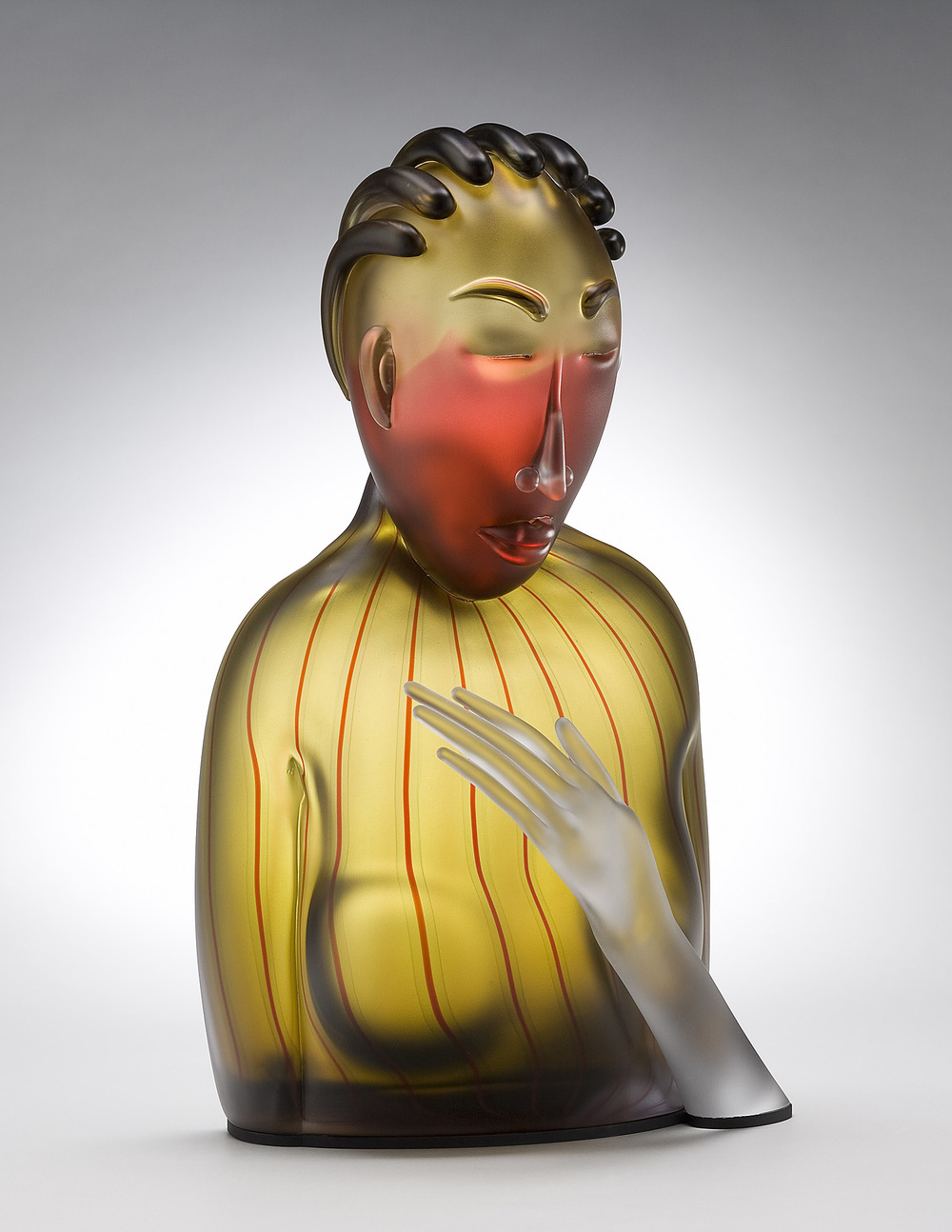 Silken   2008. Blown glass, aluminum. 22 x 13 x 9½""