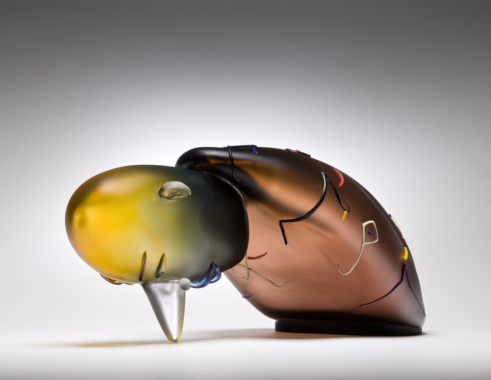 Nose   2008. Blown glass, aluminum. 10 x 22 x 12""
