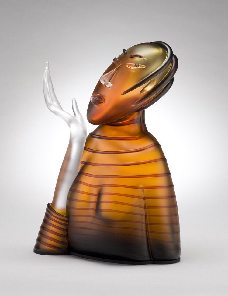 "Dream   2007. Blown glass, aluminum. 19 x 13 x 9"""