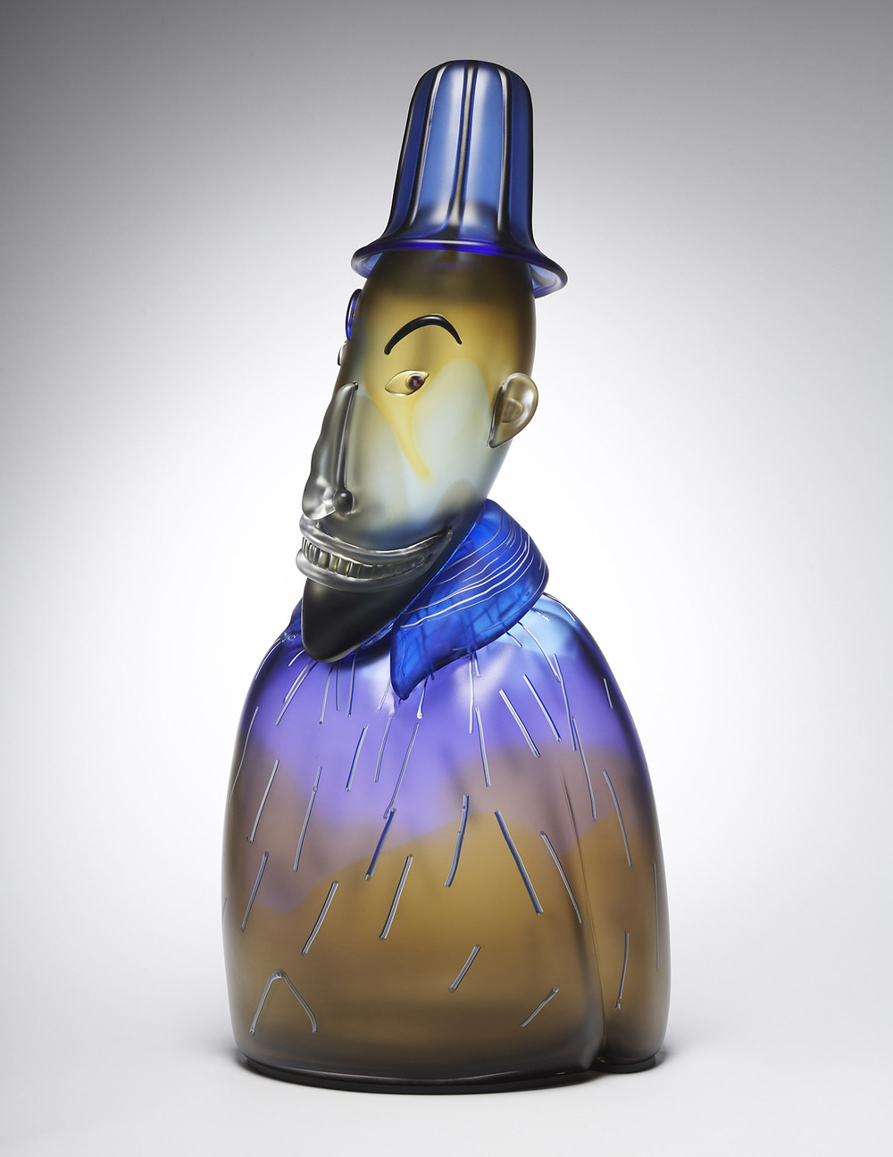 Lucky   2006. Blown glass, aluminum. 28¾ x 12½ x 7""