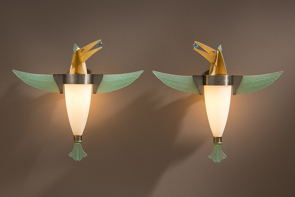 "Birds with Aquamarines   2013. Blown glass, nickel and gold-plated bronze, pate de verre and lampworked glass. 23 x 26 x 8"" each"