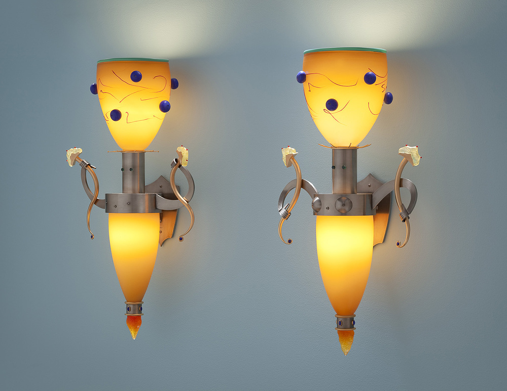 Vulamina & Vulamino   2010. Blown glass, nickel and gold-plated bronze, pate de verre and lampworked glass. 28½ x 15½ x 8½""