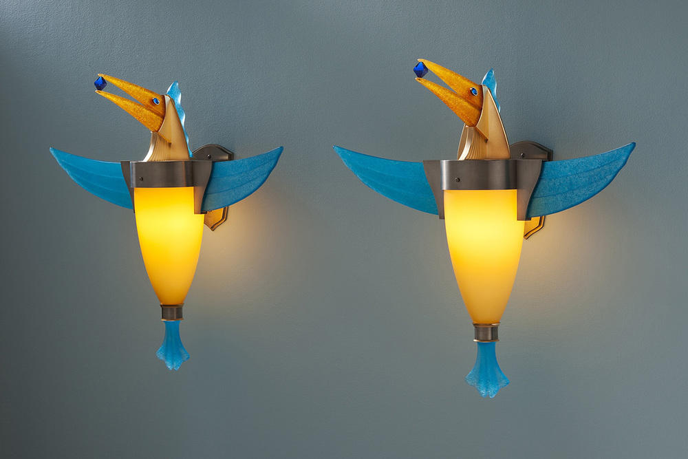 "Birds with Sapphires   2009. Blown glass, nickel and gold-plated bronze, pate de verre and lampworked glass. 23 x 26 x 8"" each"