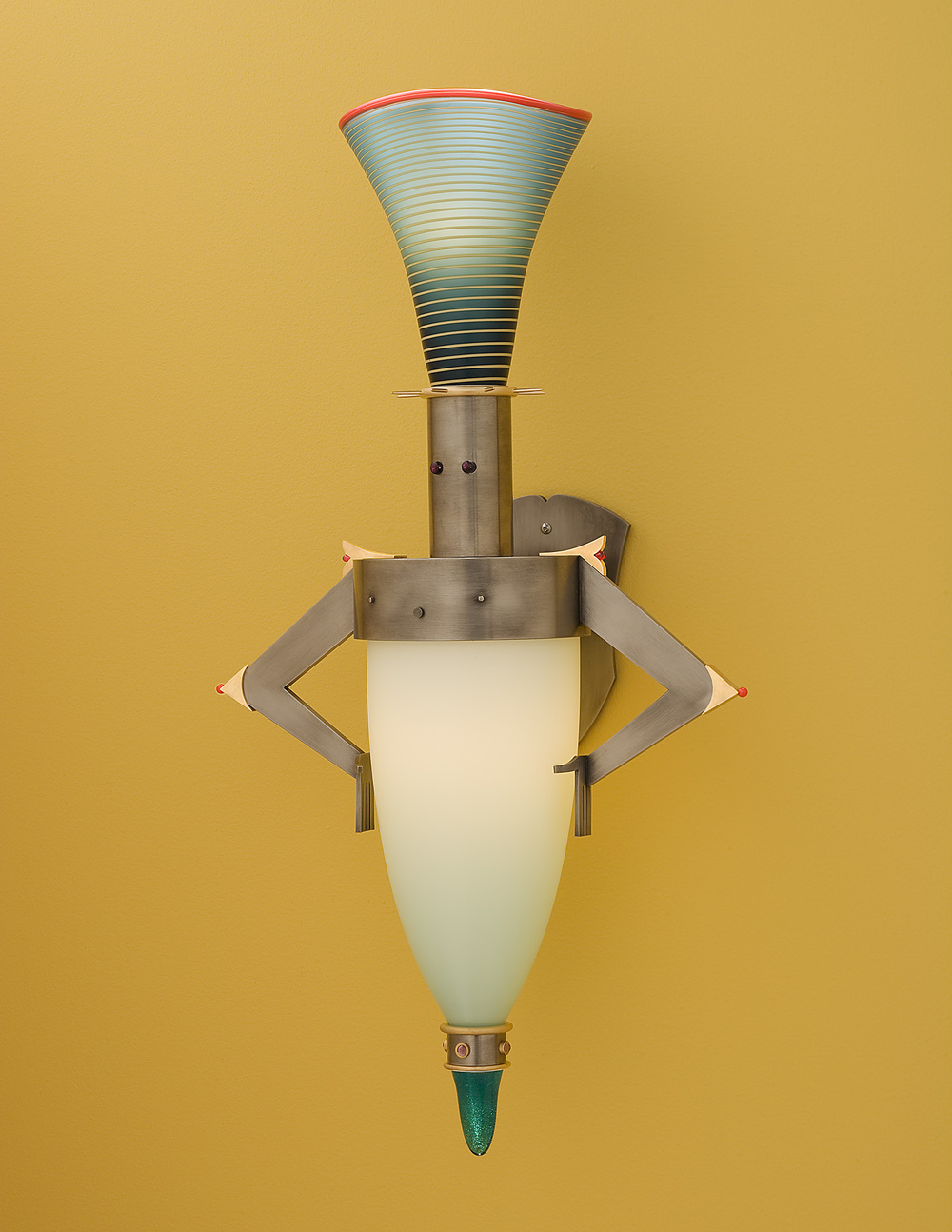Musto   2007. Blown glass, nickel and gold-plated bronze, pate de verre and lampworked glass. 27 x 14 x 8""