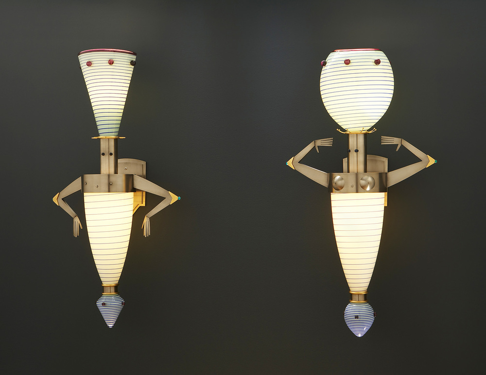 "Dazzlers   2006. Blown glass, nickel and gold-plated bronze, lampworked glass. 31 x 16½ x 8½"" each"