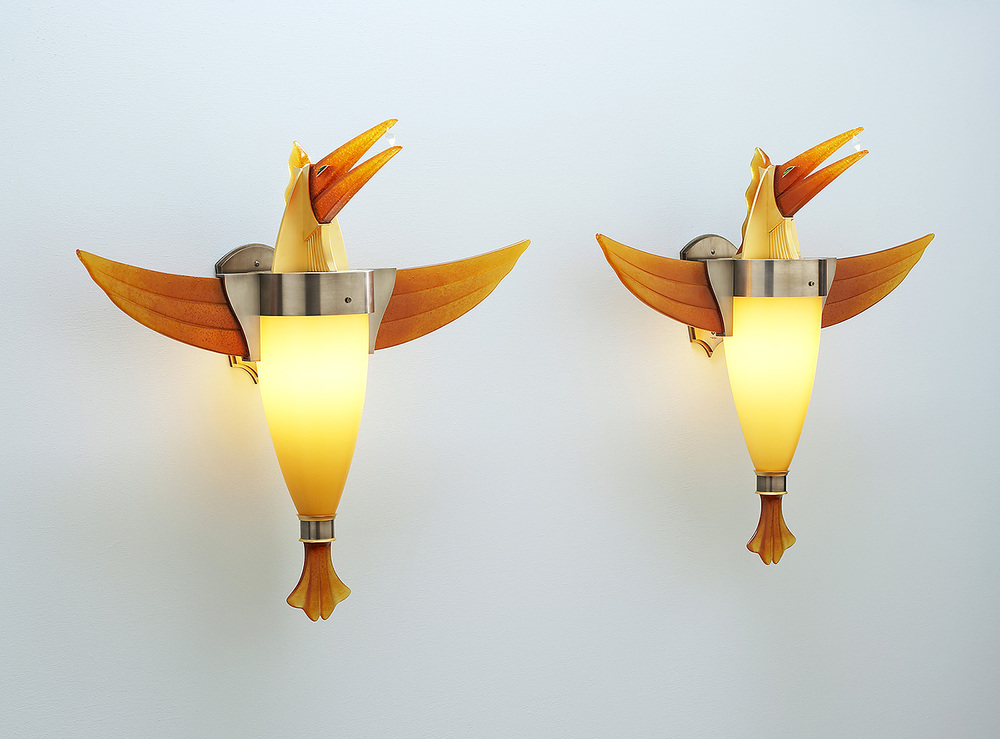 "Birds with Diamonds   2005. Blown glass, nickel and gold-plated bronze, pate de verre, and lampworked glass. 22½ x 26½ x 8"" each"