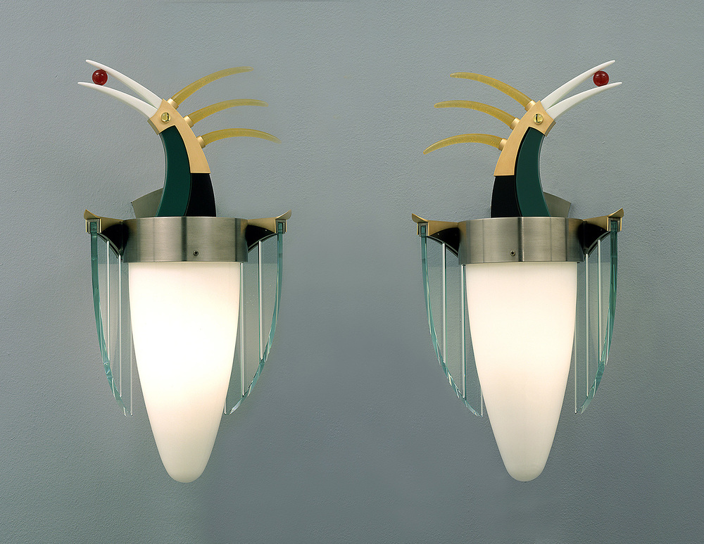 Birds with Prizes   2001. Blown glass, nickel and gold-plated bronze, pate de verre, and lampworked glass. 19½ x 11 x 8""