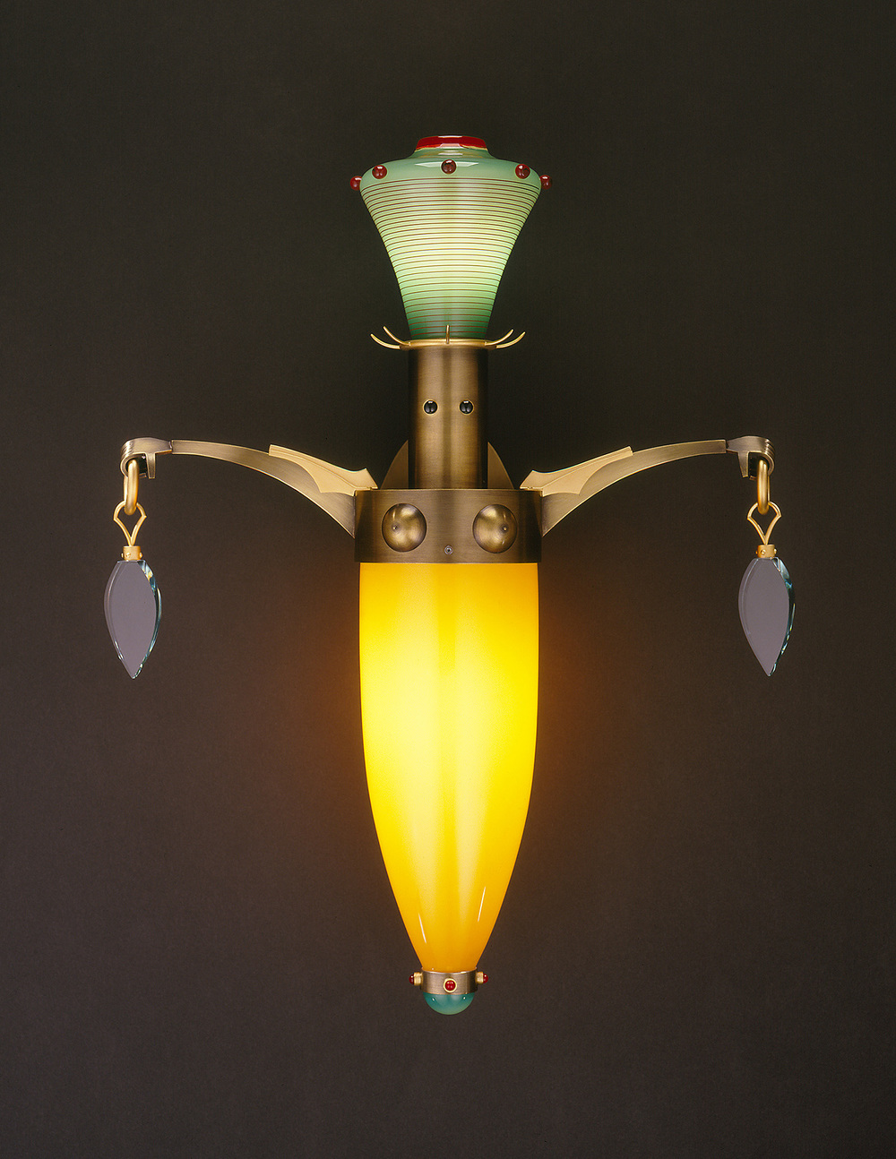 Presents   2000. Blown glass, nickel and gold-plated bronze, and lampworked glass. 24 x 18 x 8""