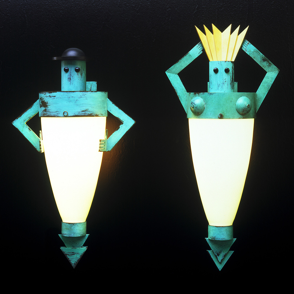 Man Lamp and Woman Lamp   1986. Blown glass, bronze, paint and lampworked glass.