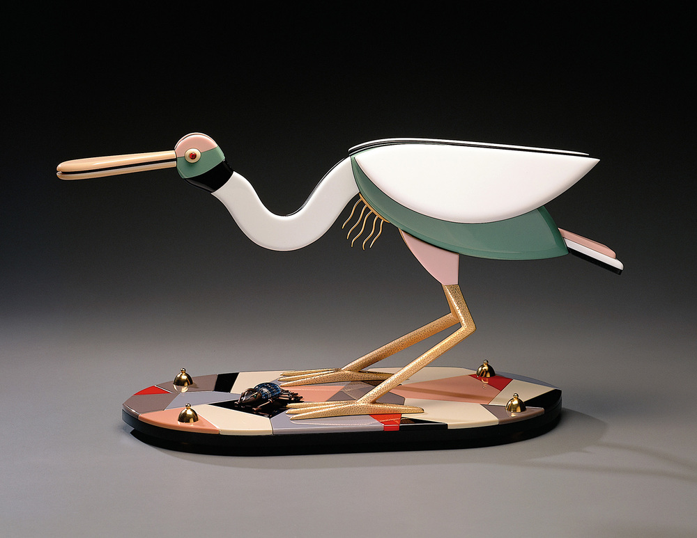 Spoonbill   1995. Vitrolite, bronze, gold-plated bronze. 13½ x 27½ x 9""