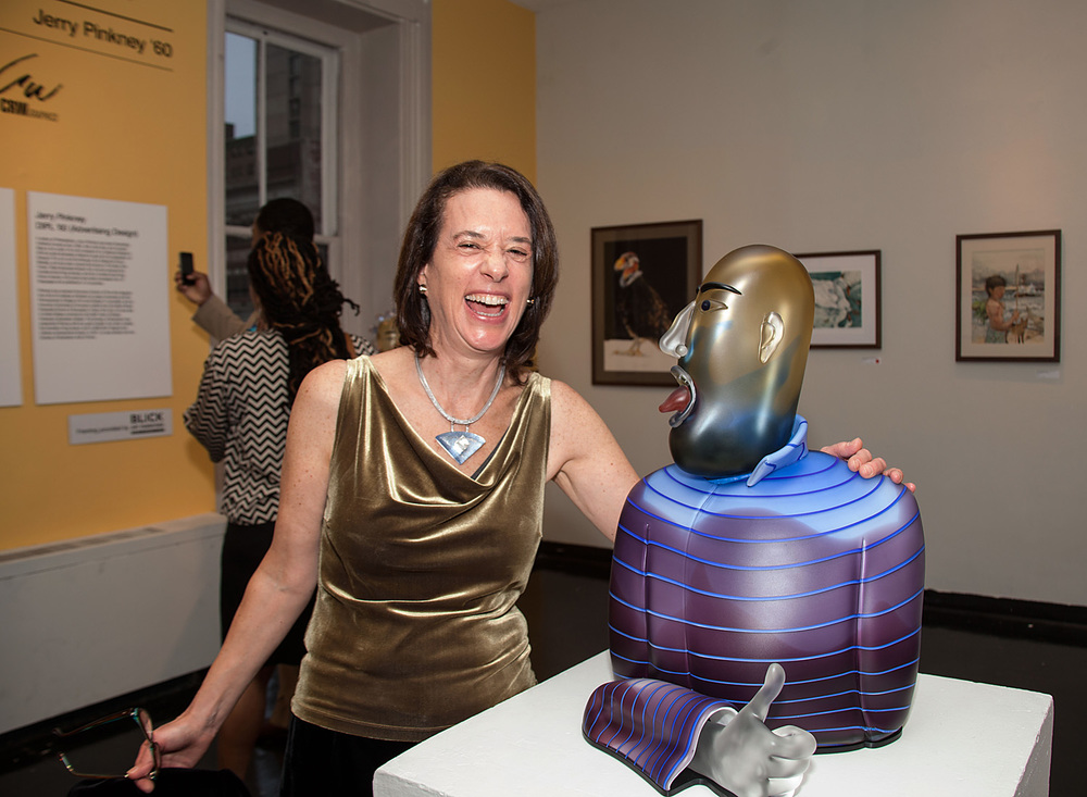Linda MacNeil with  Righteous  (2013. Blown glass, aluminum.)