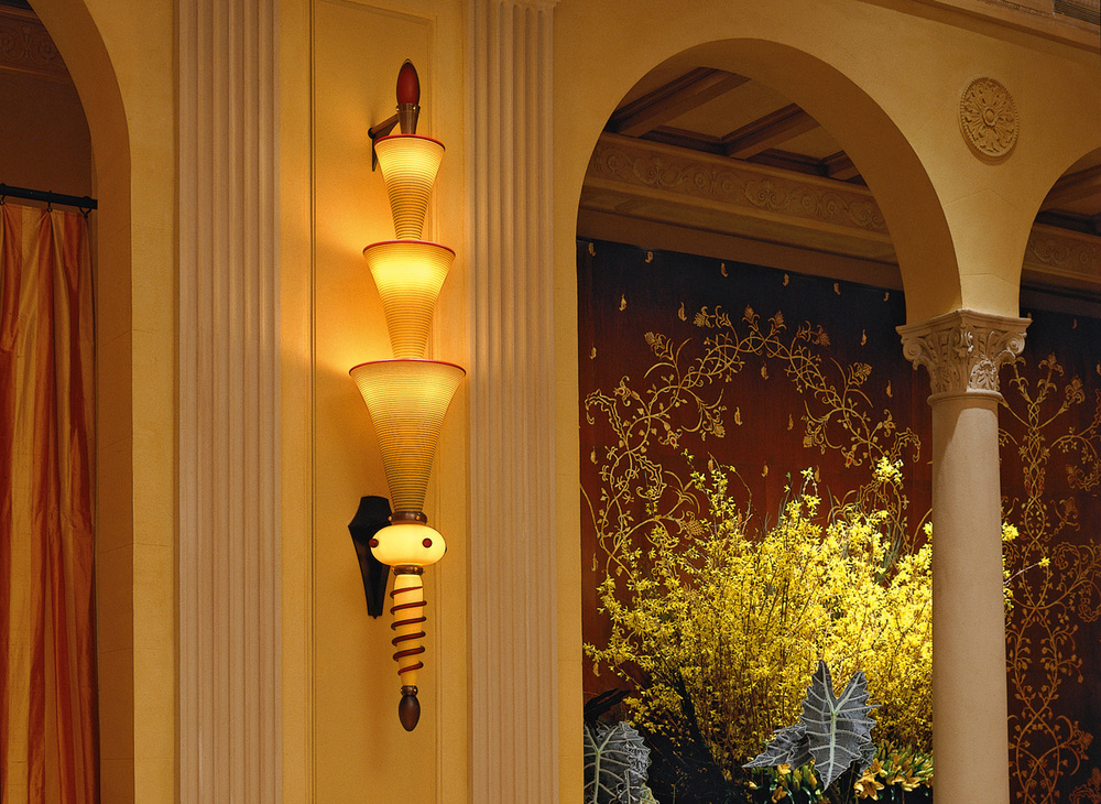 "Byzantine Sconces   2002. Blown glass, bronze, aluminum, steel. (1 of 4) As installed at Restaurant Daniel, New York, 2002 – 2012 Full assembly: 91½ x 13½ x 11½""  Glass assembly: 66 x 11½ x 11½"""