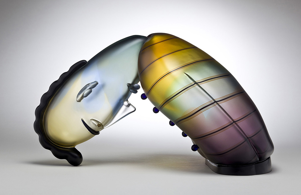 Perspective   2011. Blown glass, aluminum. 13¾ x 22 x 14""