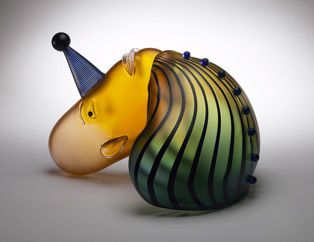 Fool   2004. Blown glass. 12 x 18½ x 15½""