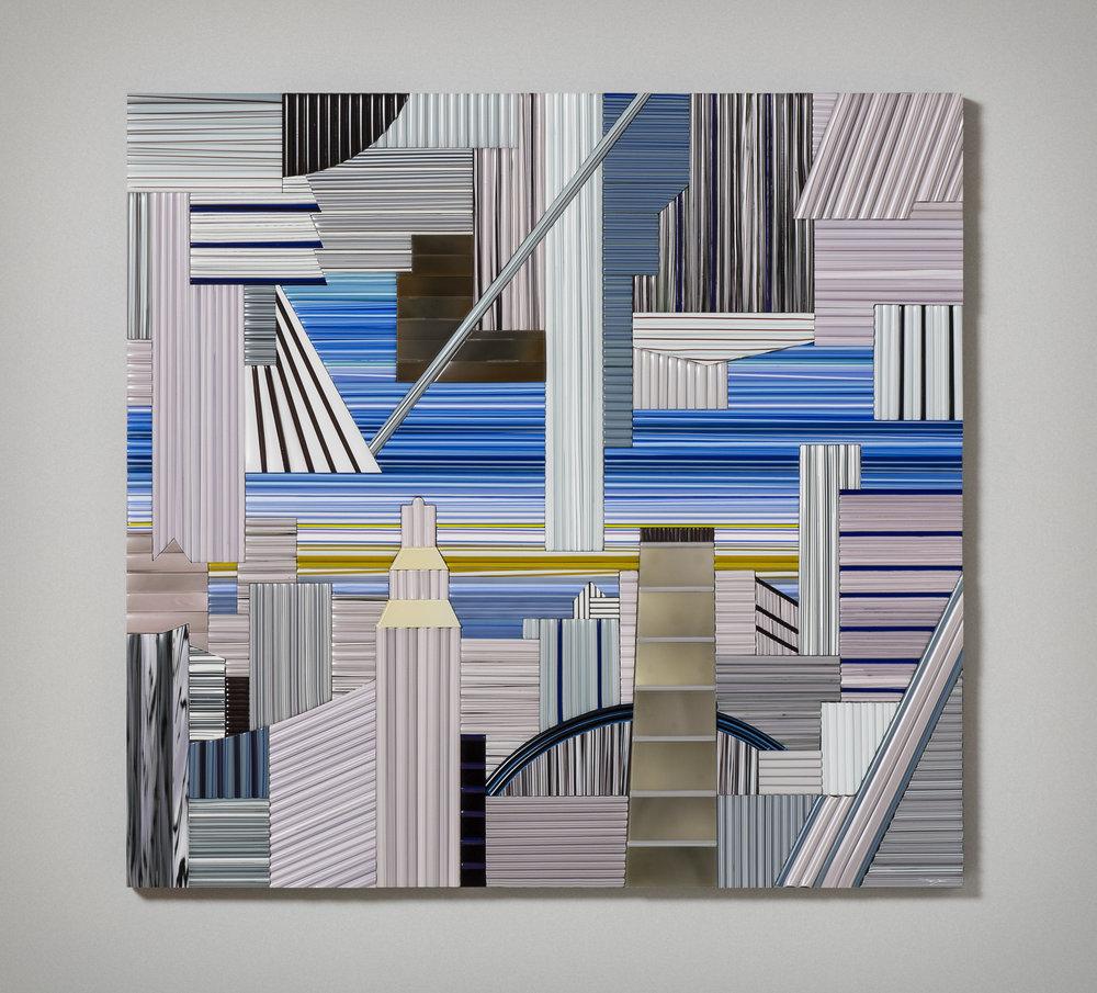 """Vertigo   2016. Glass cane, anodized aluminum. 38 x 40 x 1½"""""""