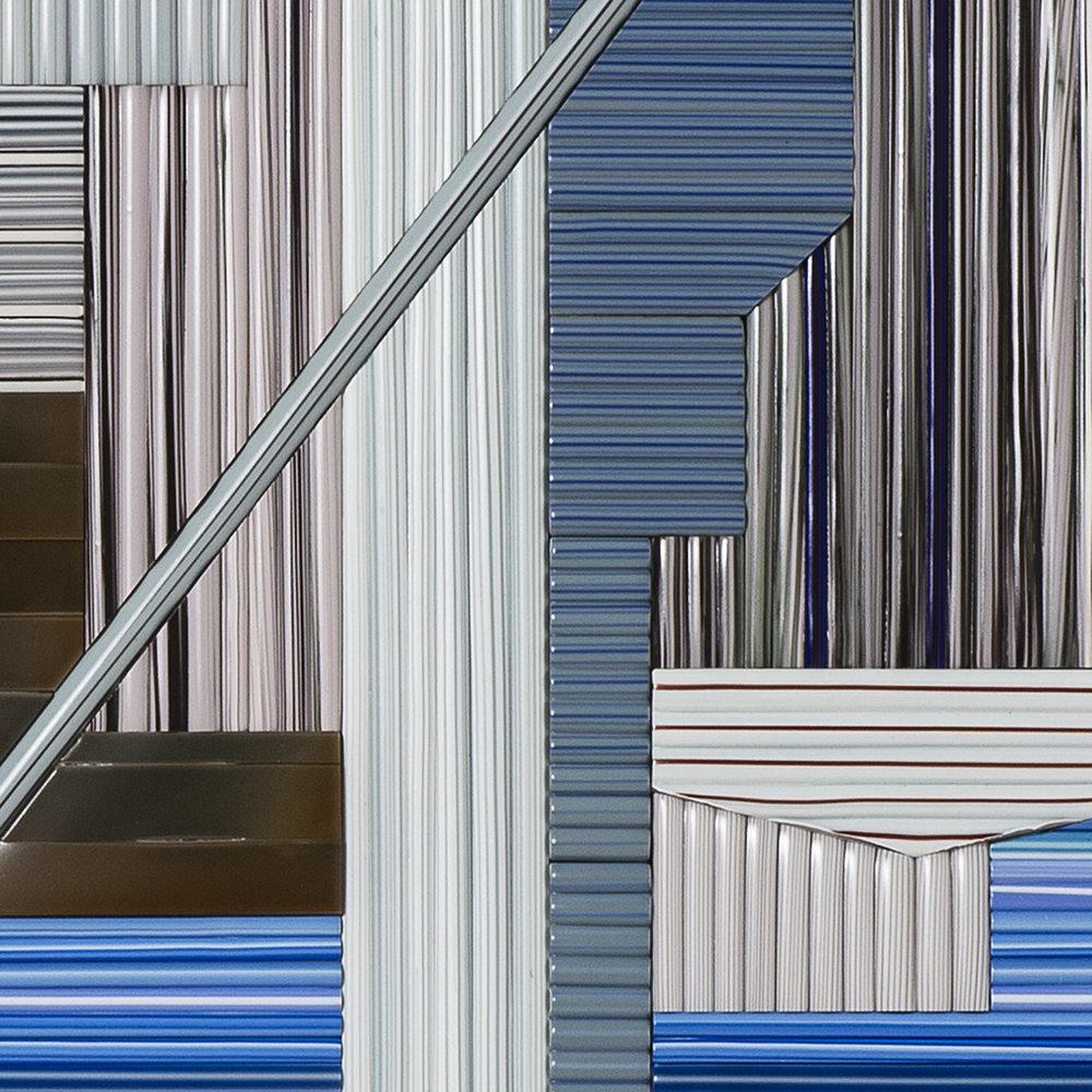 """Vertigo   2016.Glass cane, anodized aluminum. 38 x 40 x 1.5"""""""