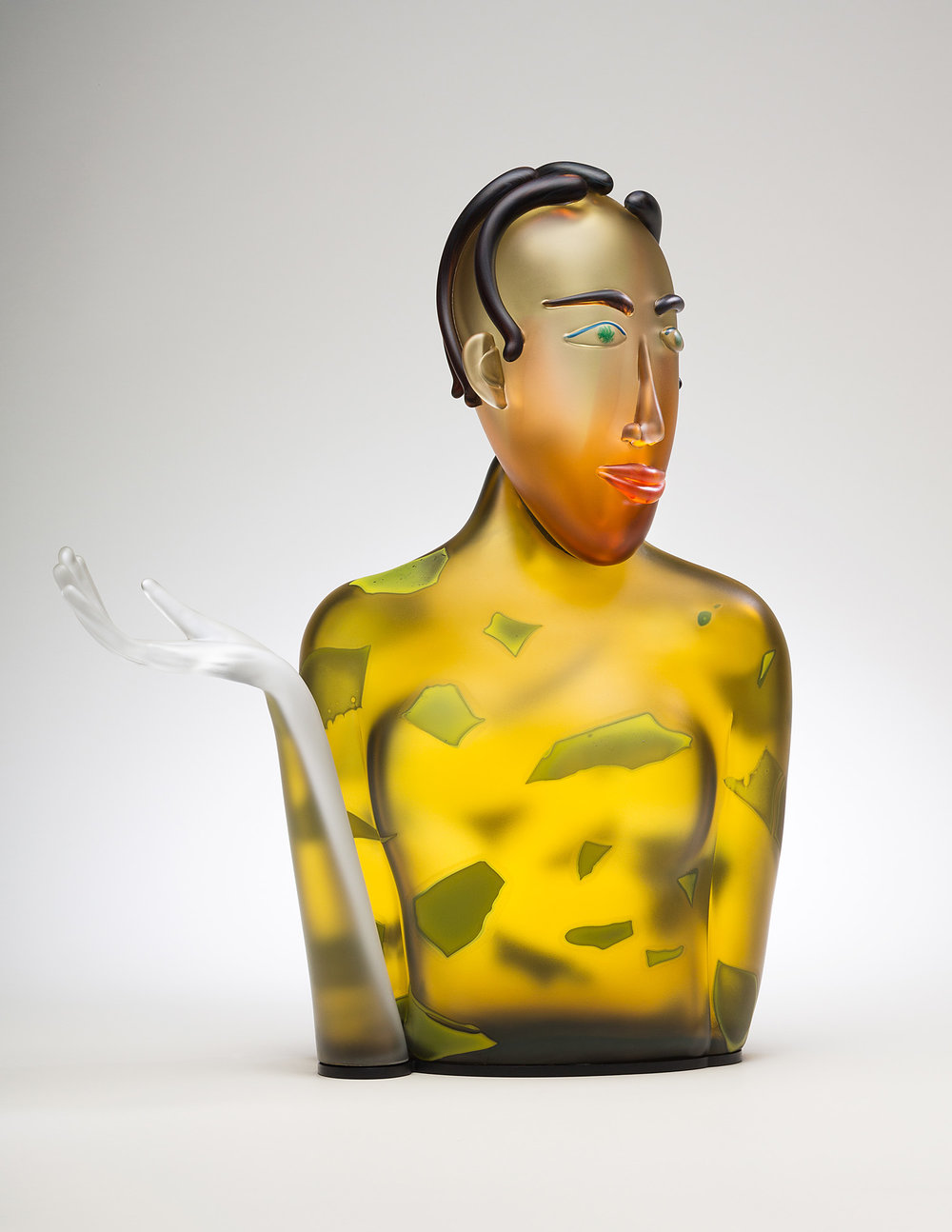 Skillion    2015. Blown glass, aluminum. 22½ x 18½ x 9""