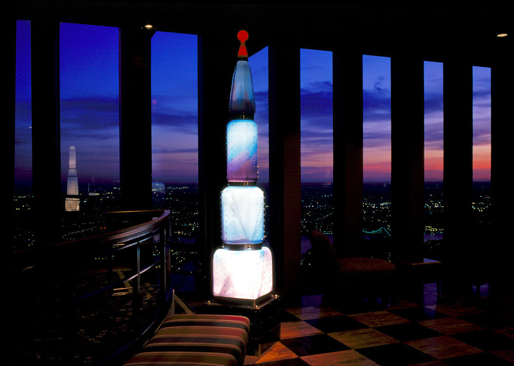 "Skyscrapers   1996. Blown glass, nickel plated bronze, steel, fiber optic lights. 114"" height. Windows on the World, One World Trade Center Towers, New York, NY (destroyed)"