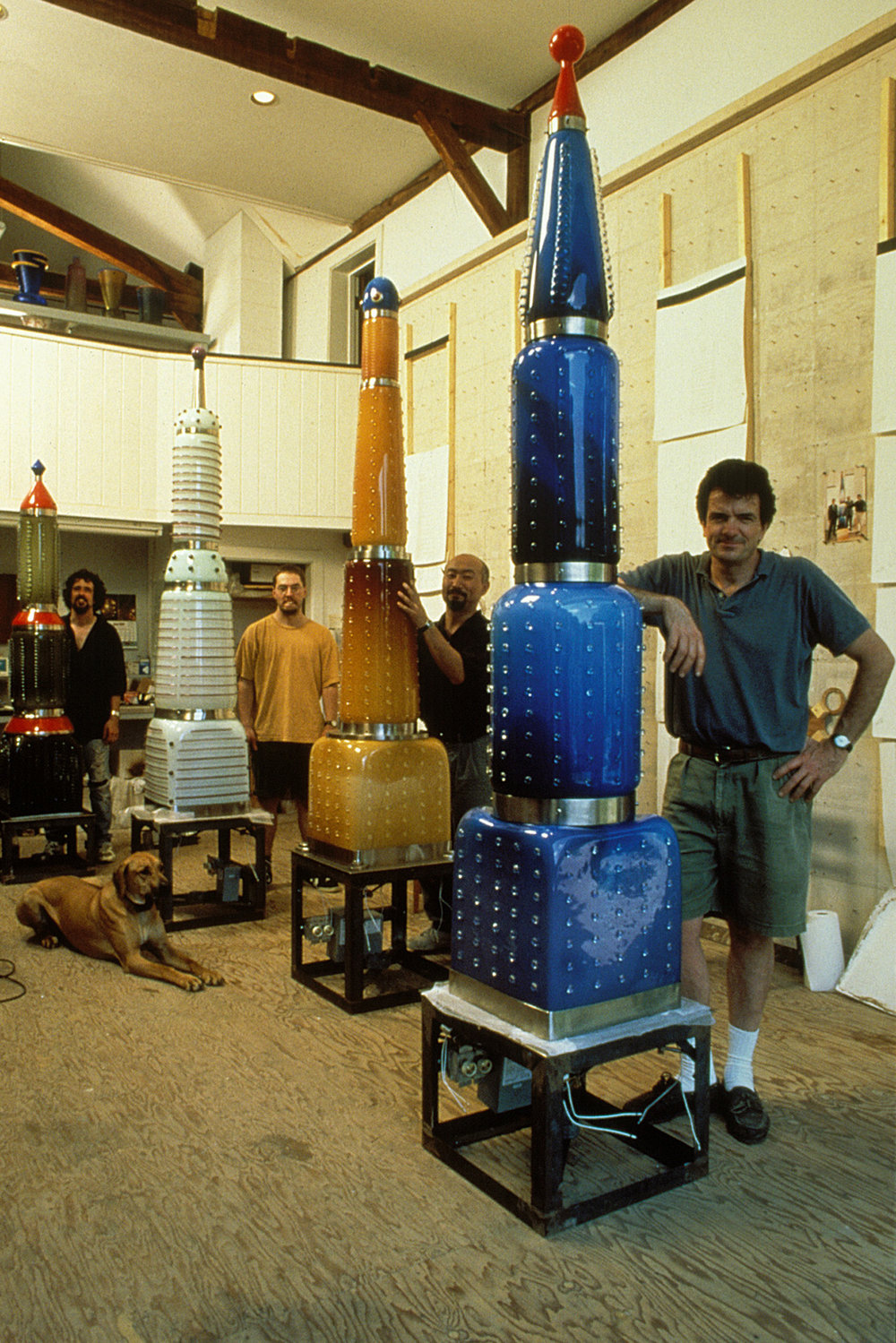 "Skyscrapers    1996. Blown glass, nickel plated bronze, steel, fiber optic lights. 96 – 120"" height range.  At Dailey Studio"