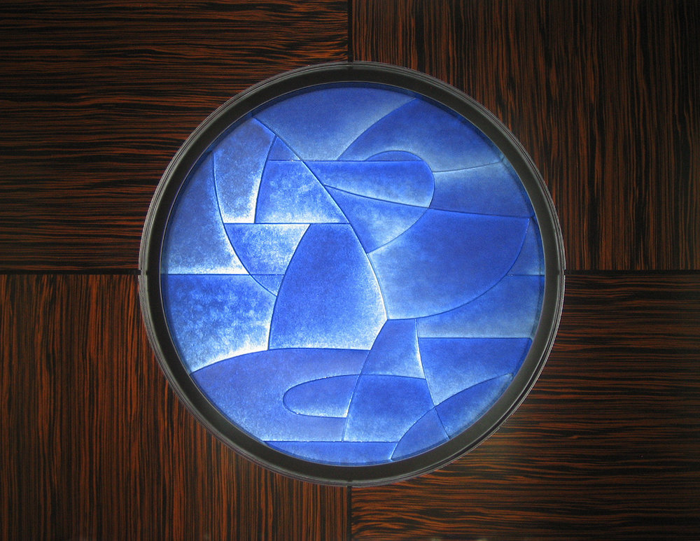 "Ocean    2007. Cast glass, aluminum. 50 x 50""  Private residence, Palm Beach, FL"